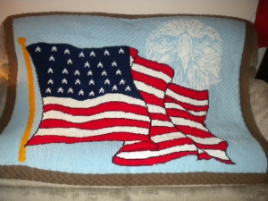 Spirit of 1850 - flag-eagle afghan